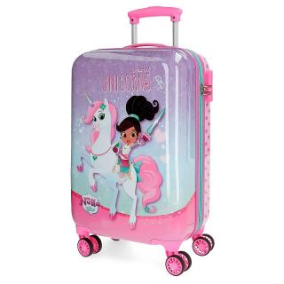 f8d36b4e62077 ABS Cestovný kufor Princezná Nella a jednorožec lila 55 cm empty